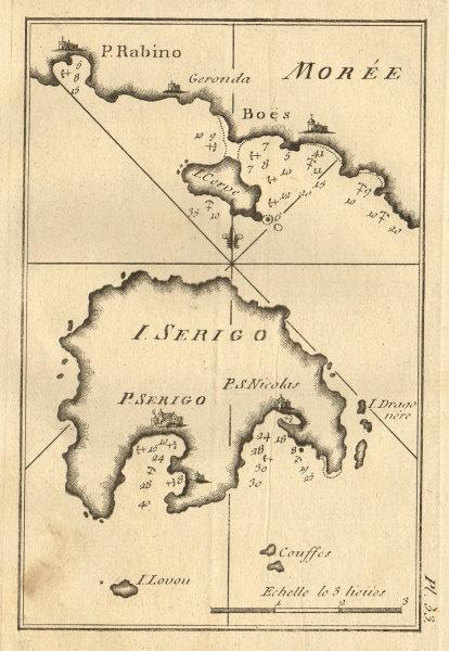I. Serigo - Morée. Kythira/Cythera (Cerigo) & Elafonisos. Greece. ROUX 1804 map