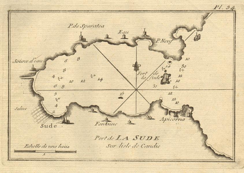 Port de la Sude. Port & Bay of Souda, Chania, Crete. Greece. ROUX 1804 old map