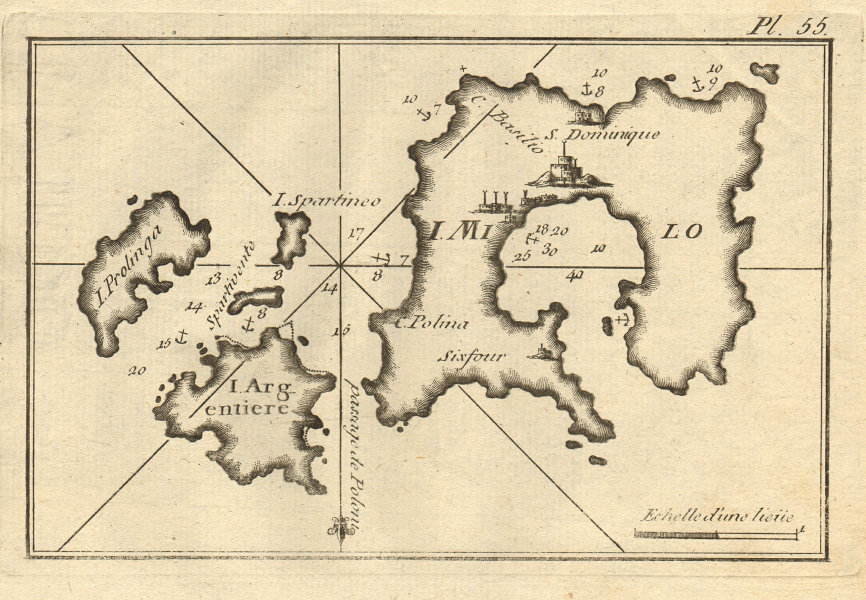 Milo Argentiere Prolinga. Milos Kimilos Poliegos Cyclades Greece ROUX 1804 map
