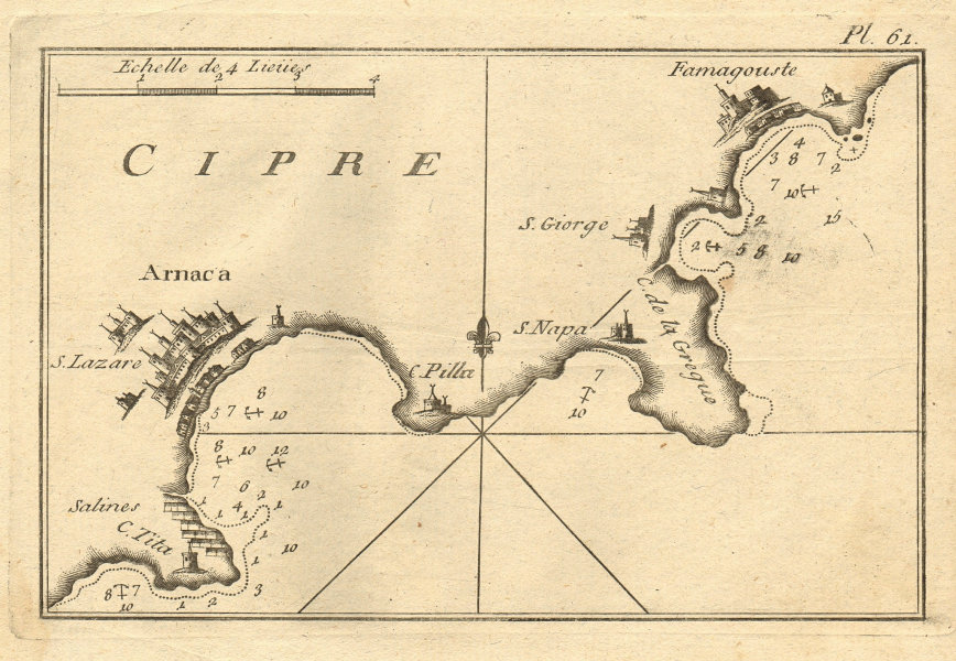 Arnaca & Famagouste, Cipre. Larnaca, Ayia Napa & Famagusta. Cyprus ROUX 1804 map