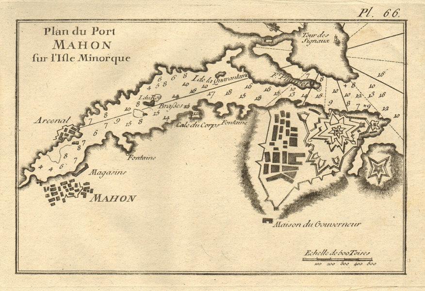Port Mahon sur I'Isle Minorque. Menorca/Minorca. Balaerics Spain. ROUX 1804 map