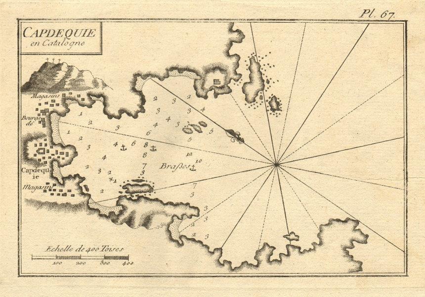 Capdequie en Catalogne. The Port of Cadaques. Catalonia, Spain. ROUX 1804 map