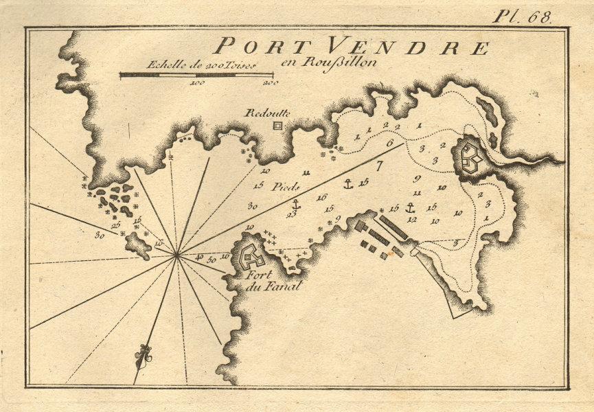 Port Vendre en Roussillon. Port-Vendres Pyrénées-Orientales France ROUX 1804 map