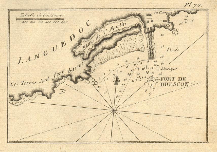 Fort de Brescon/Brescou. Etang de St. Martin. Cap d'Agde. Hérault. ROUX 1804 map
