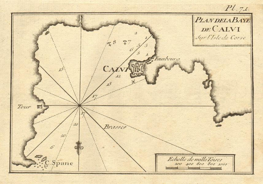 Plan de la Baye de Calvi, sur l'Isle de Corse. Calvi, Corsica. ROUX 1804 map
