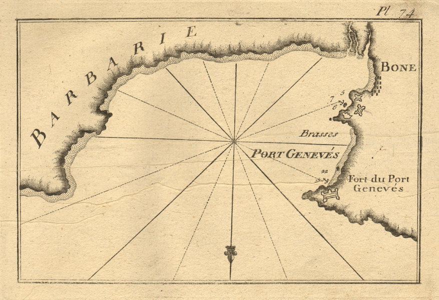 Bone - Port Genevés (Barbarie). Port & Gulf of Annaba. Algeria. ROUX 1804 map