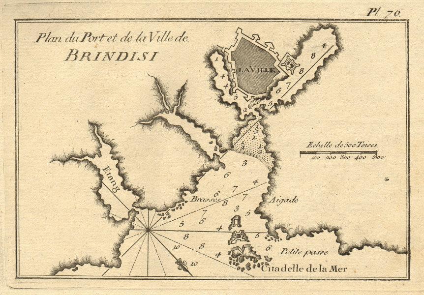 Plan du Port et de la Ville de Brindisi. Harbour & City. Italy. ROUX 1804 map