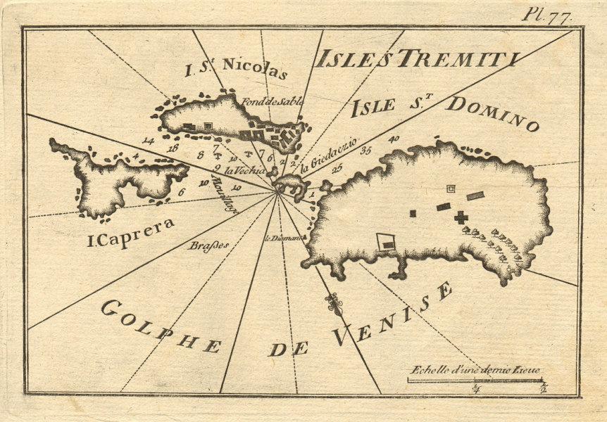 Isole/Iles Tremiti. San Domino San Nicola Capraia. Adriatic Italy. ROUX 1804 map