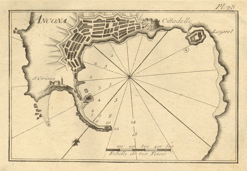 Ancone. Plan of the Port of Ancona. Italy. ROUX 1804 old antique map chart