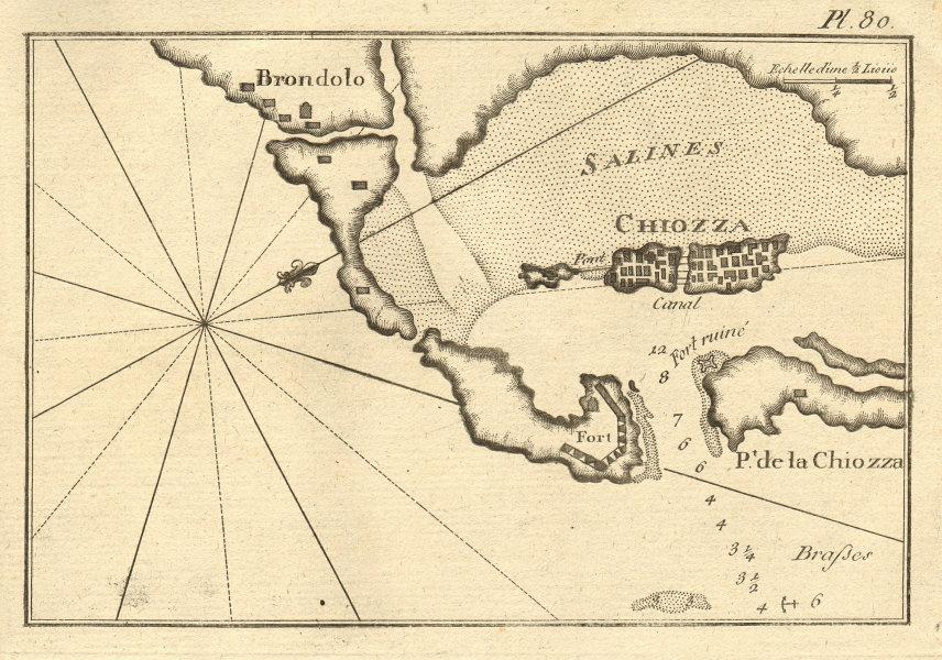 Chiozza. Chioggia, Venetian lagoon. Italy. ROUX 1804 old antique map chart