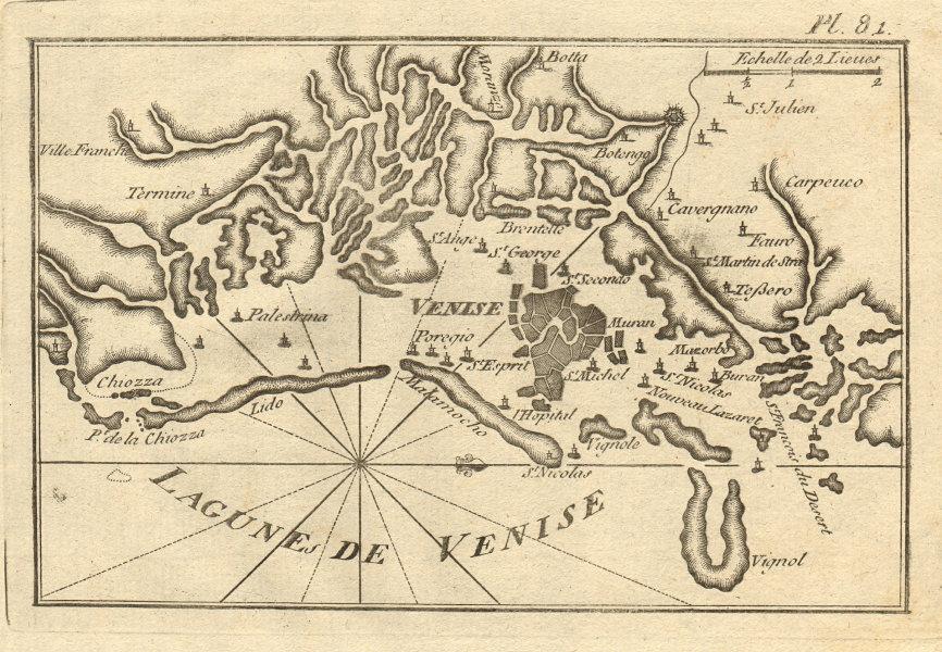 Lagune de Venise. Venice & the Venetian Lagoon. Chioggia. Italy. ROUX 1804 map