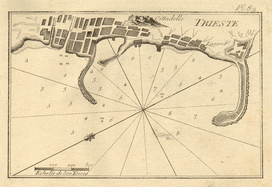 Plan of the port of Trieste. Italy. ROUX 1804 old antique map chart