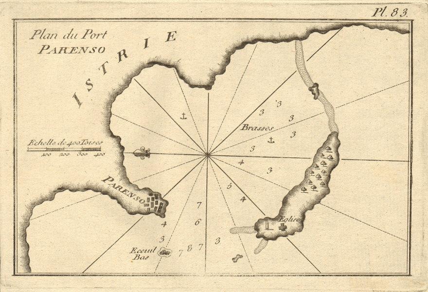 Plan du Port Parenso, Istrie. Port & Town of Porec, Istria. Poreč. ROUX 1804 map