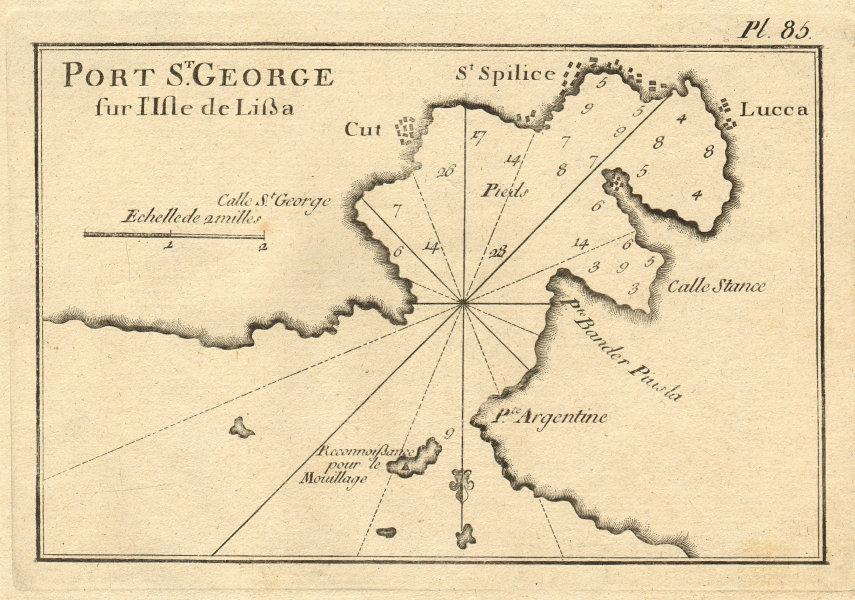 Port de St George sur l'Isle de Lissa. Vis, Croatia. ROUX 1804 old antique map