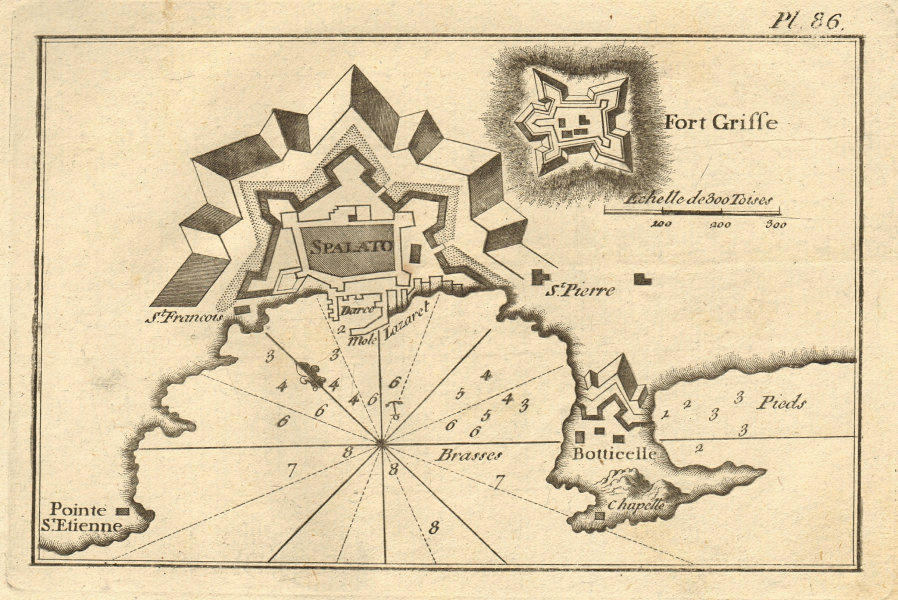 Spalato. Plan of the bay and City of Split. Croatia. ROUX 1804 old antique map