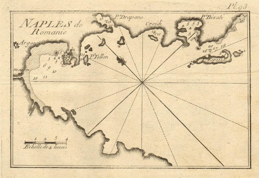 Naples de Romanie. Argolic Gulf. Napoli di Romania. Nafplio Greece ROUX 1804 map