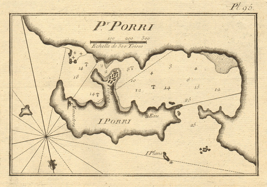 Pt. Porri - I. Porri. The island of Poros, Saronic. Greece. ROUX 1804 old map