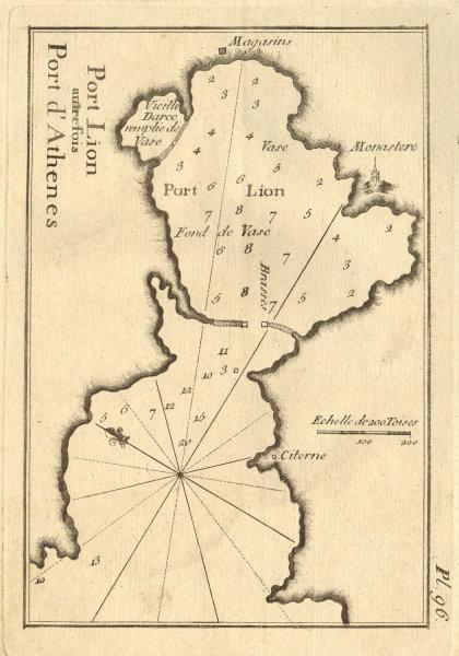 Port Lion autrefois Port d'Athenes. Piraeus, Athens. Greece. ROUX 1804 old map