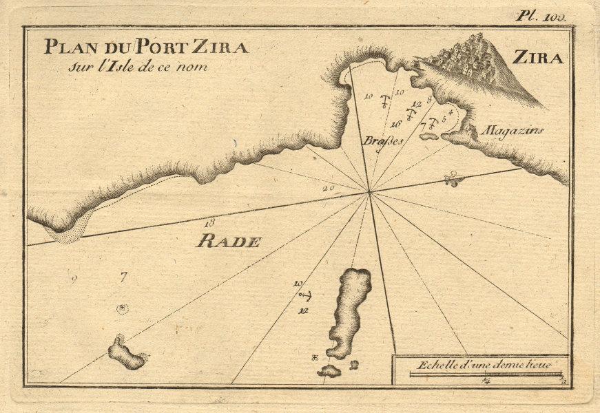Port de Zira. Ermoupoli, Syros island, Cyclades. Greece. ROUX 1804 old map