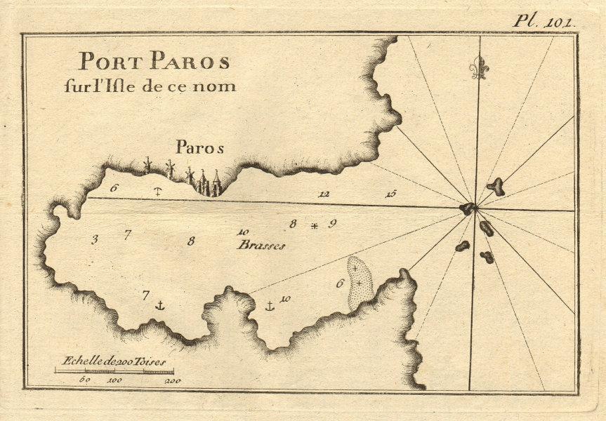 Port Paros sur l'Isle de ce nom. Paros, Cyclades. Greece. ROUX 1804 old map