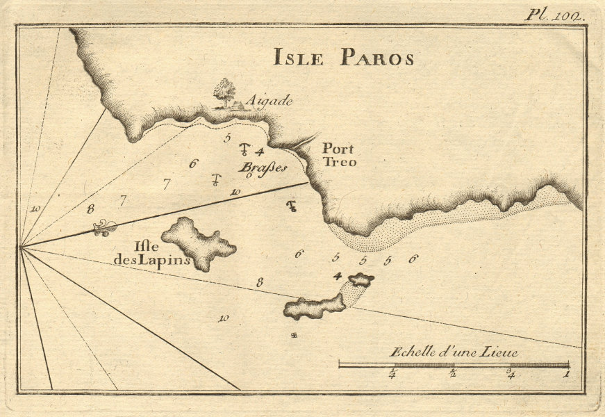 Isle des Lapins. Drionisi Makronisi Drios, Paros, Cyclades. Greece ROUX 1804 map