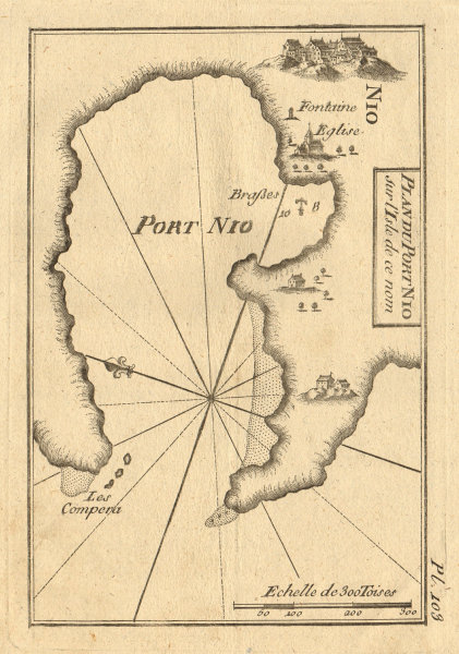 Port Nio. Ios (or Nios) & Ormos harbour, Cyclades. Greece. ROUX 1804 old map