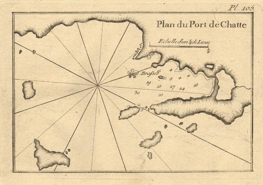 Port de Chatte. Skiathos, Repi & Tsougkrias. Sporades. Greece. ROUX 1804 map
