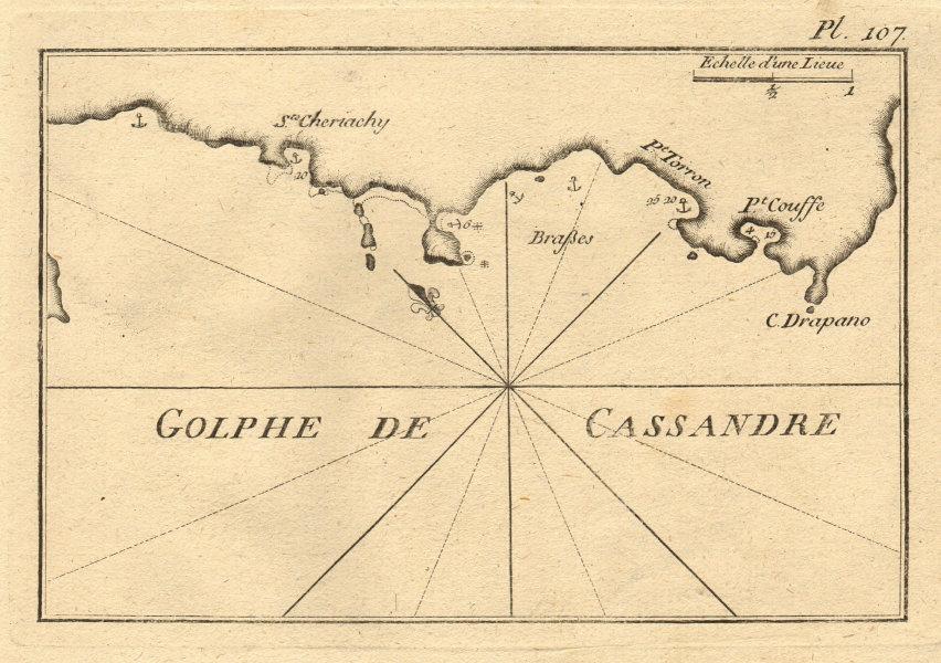 Golphe de Cassandre. Kassandra Gulf & Sithonia peninsula. Greece. ROUX 1804 map