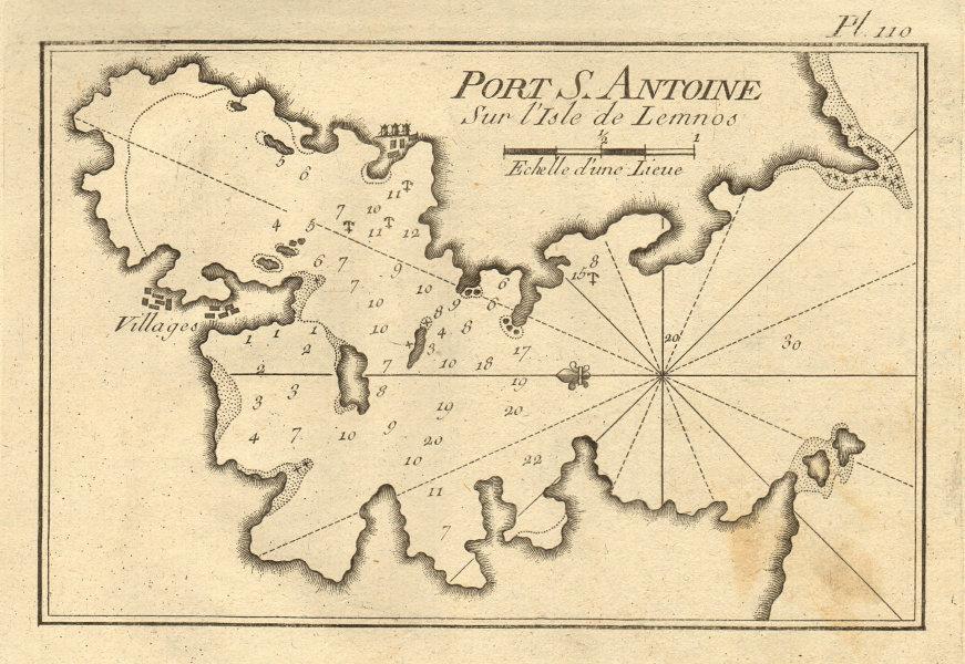 Port S. Antoine sur I'isle de Lemnos. Limnos, North Aegean. Greece ROUX 1804 map