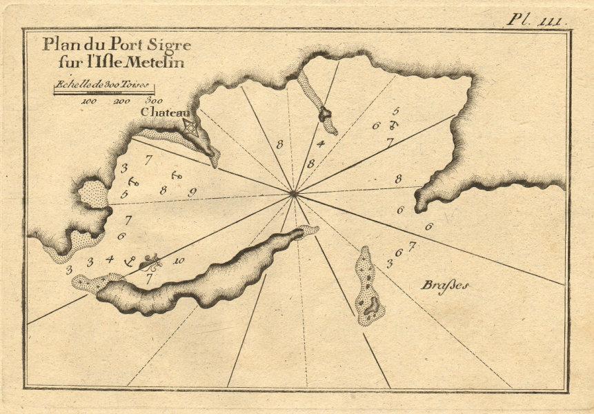 Port Sigre… Isle Metelin. Sigri Lesbos Megalonisi N. Aegean Greece ROUX 1804 map