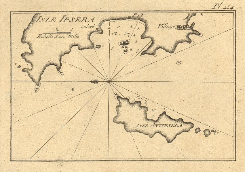 Isle Ipsera & Antipsera. Psara & Antipsara, North Aegean. Greece. ROUX 1804 map