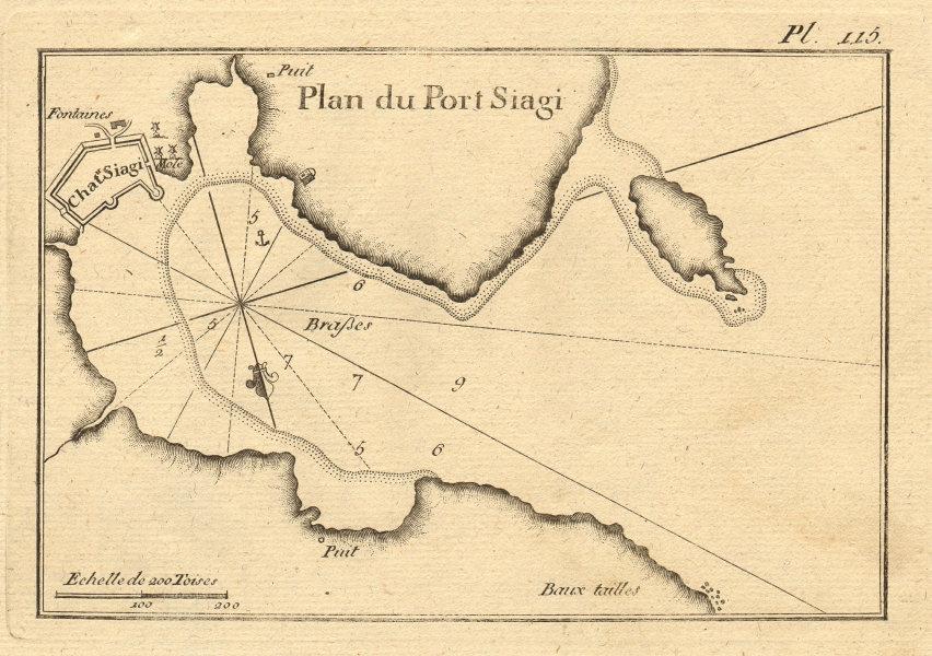 Plan du Port Siagi. Sigacik & Esek Adasi islet, Izmir. Turkey. ROUX 1804 map