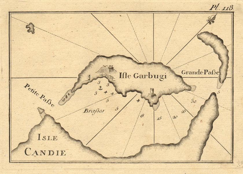 Isle Candie & Garbugi. Gramvousa peninsula & islands, Crete Greece ROUX 1804 map