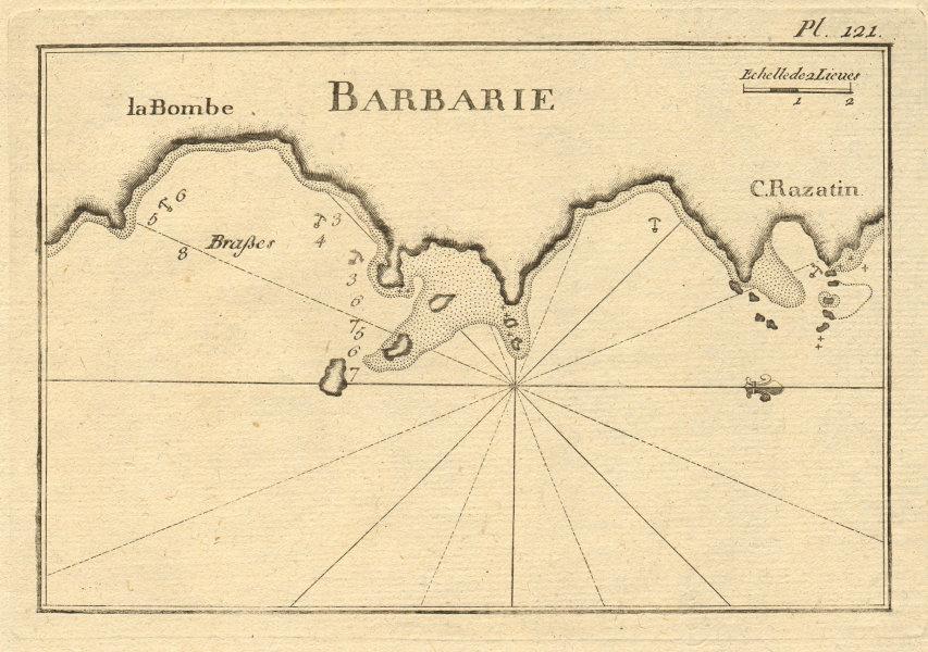 La Bombe - C. Razatin (Barbarie). Bombah & Cap Razatin, Libya. ROUX 1804 map