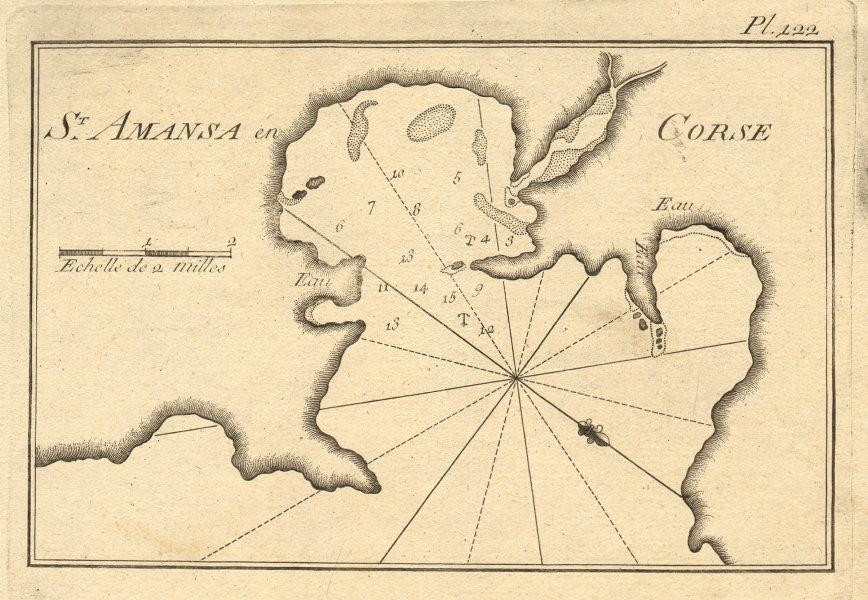 St. Amasa en Corse. Sant'Amanza bay (Beach Maora). Corsica France. ROUX 1804 map