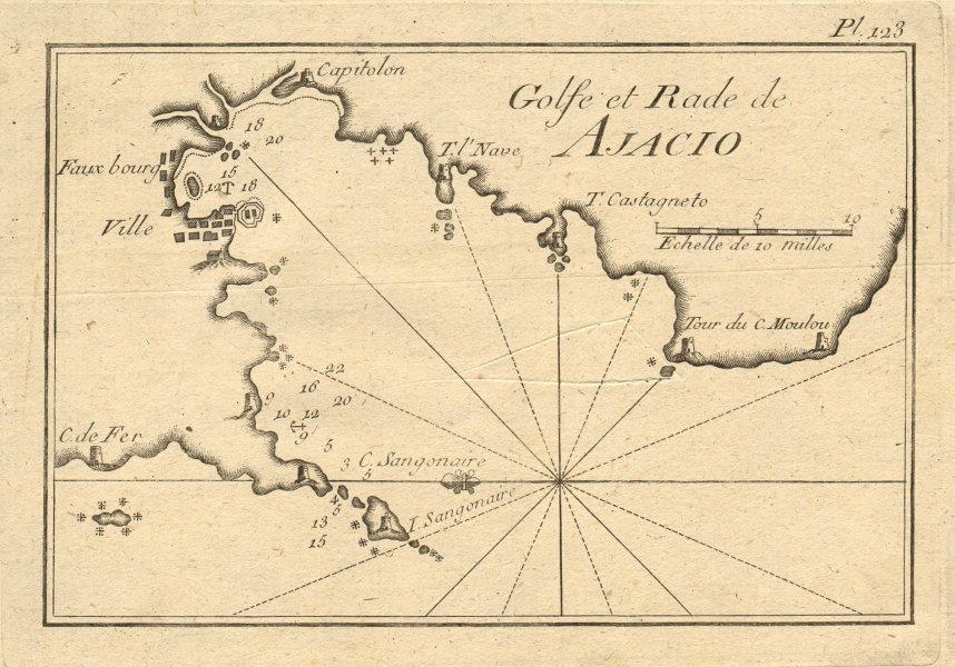Golfe et Rade de Ajacio. Gulf of Ajaccio, Corsica, France. ROUX 1804 old map