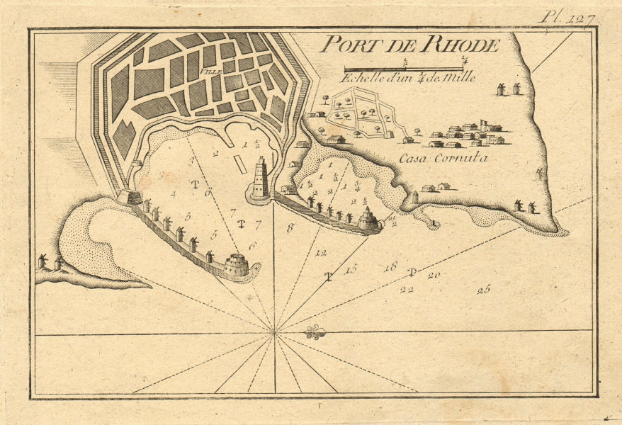 Port de Rhode. Plan of Rhodes Town and Port, Dodecanese. Greece. ROUX 1804 map