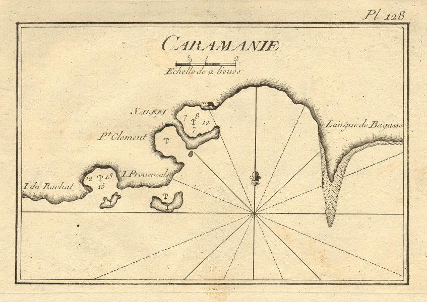 Salefi, Caramanie. Silifke coast, Mersin province, Turkey. ROUX 1804 old map