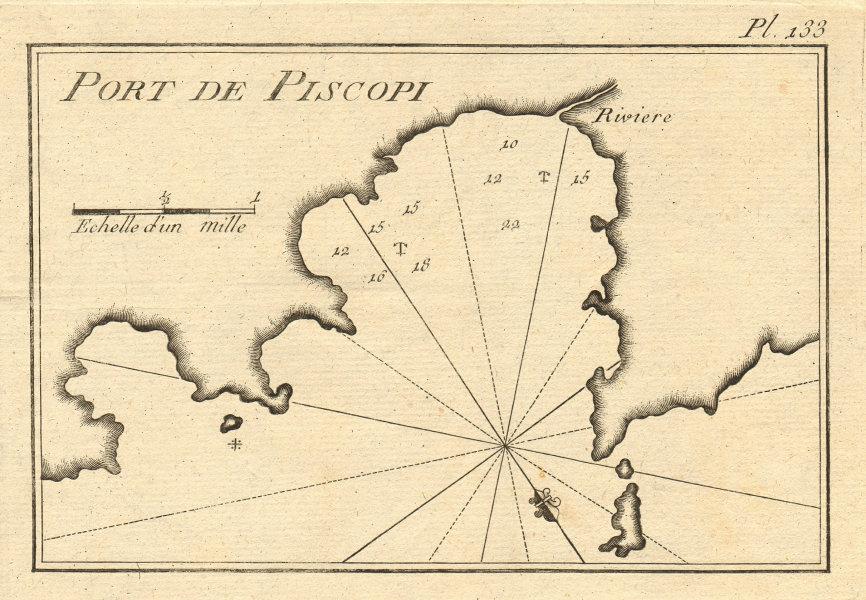 Port de Piscopi. Livadia Bay, Tilos/Episcopio, Dodecanese. Greece. ROUX 1804 map