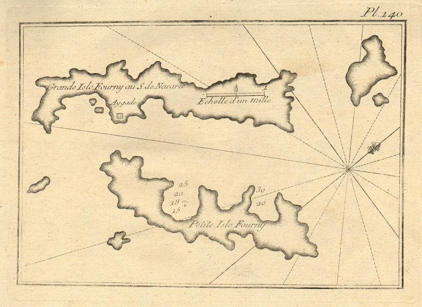 Isles Fourny. Fournoi Korseon archipelago, Dodecanese. Greece. ROUX 1804 map