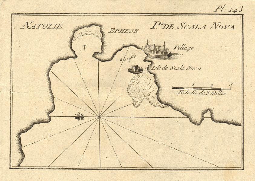 Scala Nova & Ephese, Natolie. Kusadasi Bay. Ephesus/Efes. Turkey. ROUX 1804 map
