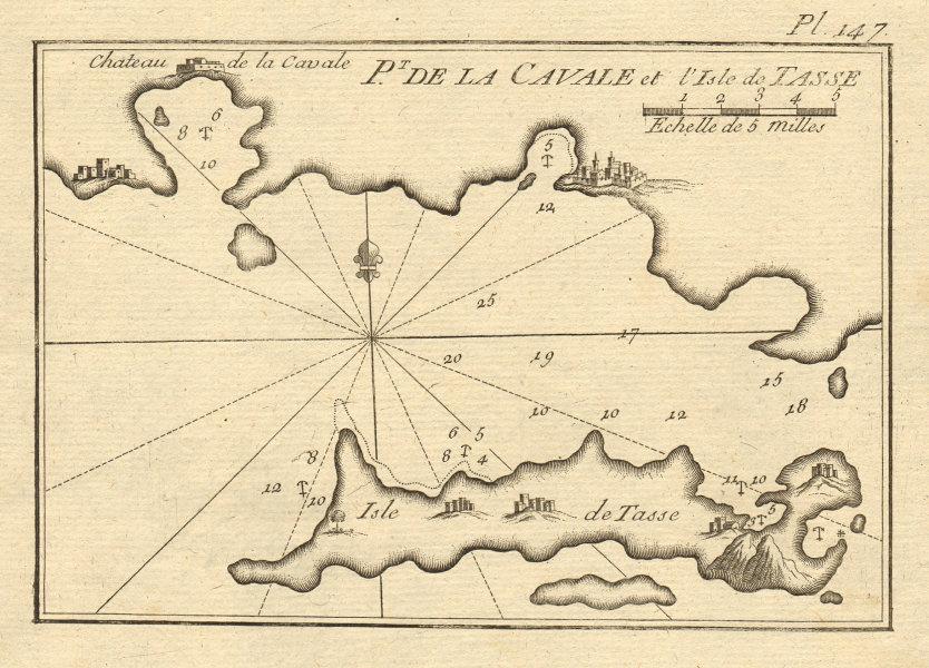 Pt de la Cavale. Isle de Tasse. Kavala Thasos. North Aegean Greece ROUX 1804 map