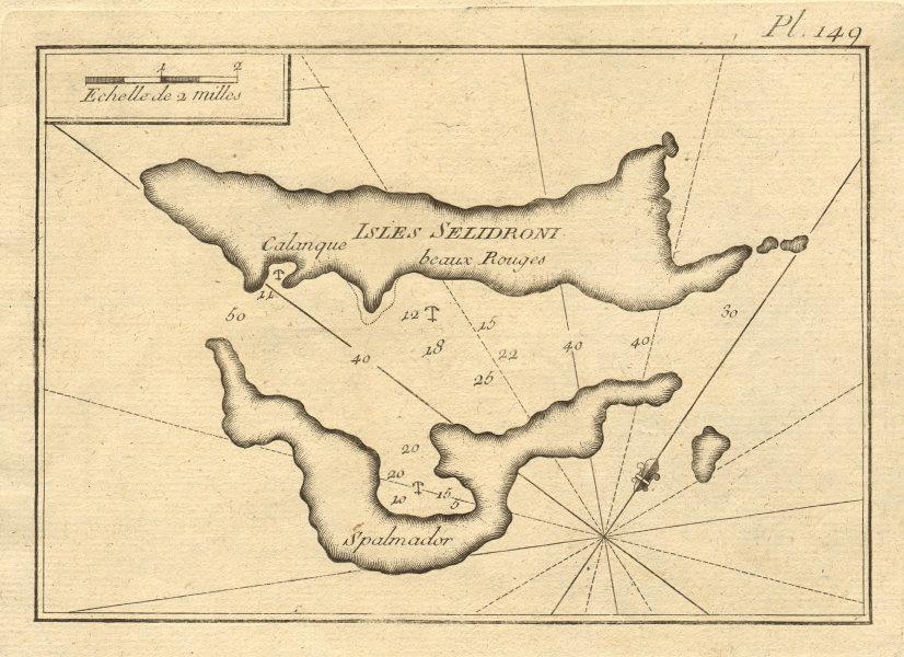 Isles Selidroni. Alonissos, Peristera & Lechousa, Sporades. Greece ROUX 1804 map
