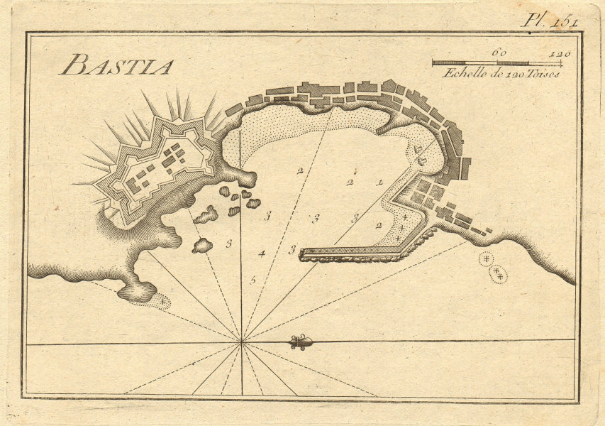 Plan of the port of Bastia. Corsica, France. ROUX 1804 old antique map chart