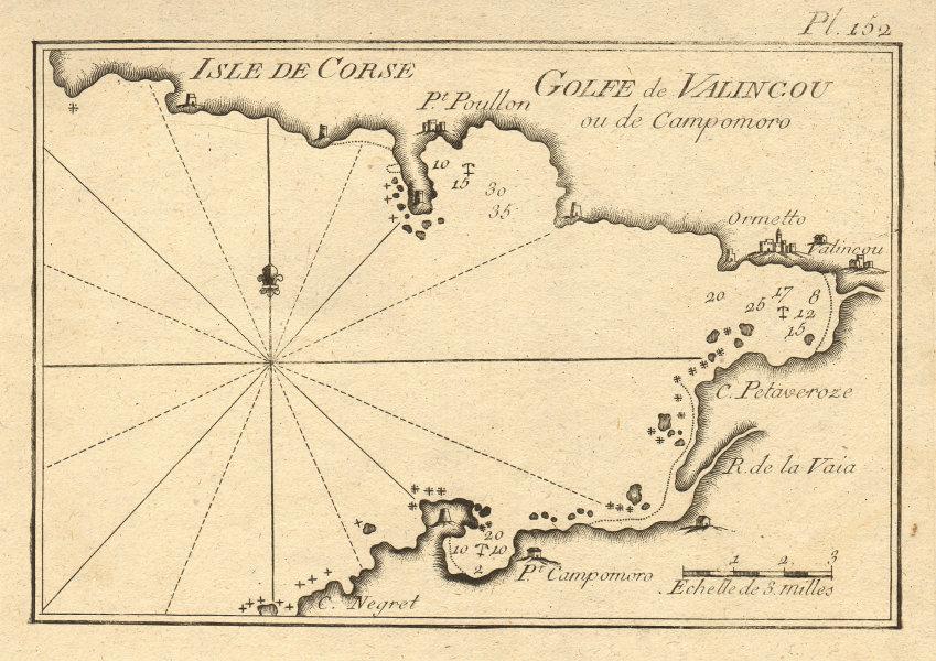 Isle de Corse. Golfe de Valincou. Valinco Gulf, Corsica. Propriano ROUX 1804 map