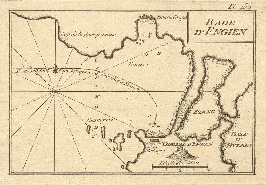 Rade d'Engien. Giens peninsula, Hyères. Plage de l'Almanarre. Var. ROUX 1804 map