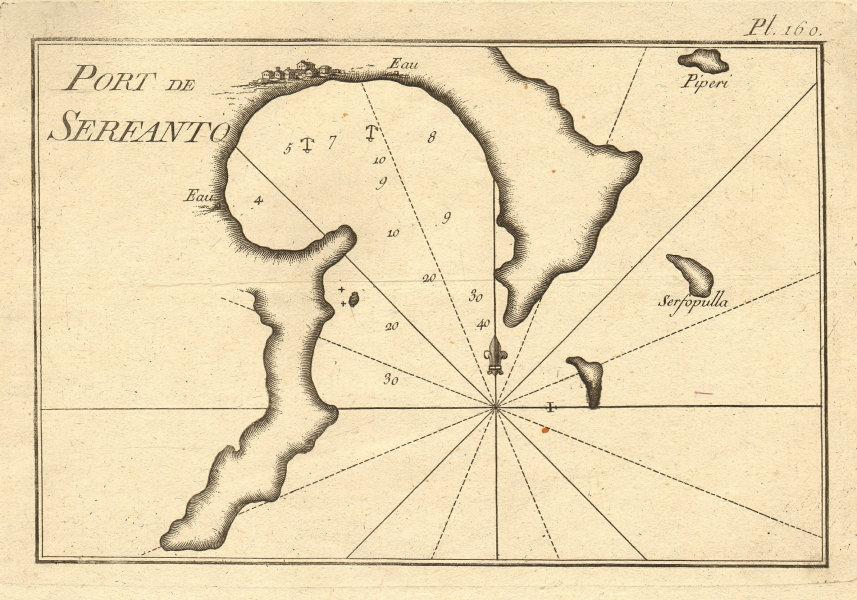 Port de Serfanto. Serifos harbour, Megalo Livadi. Cyclades Greece. ROUX 1804 map
