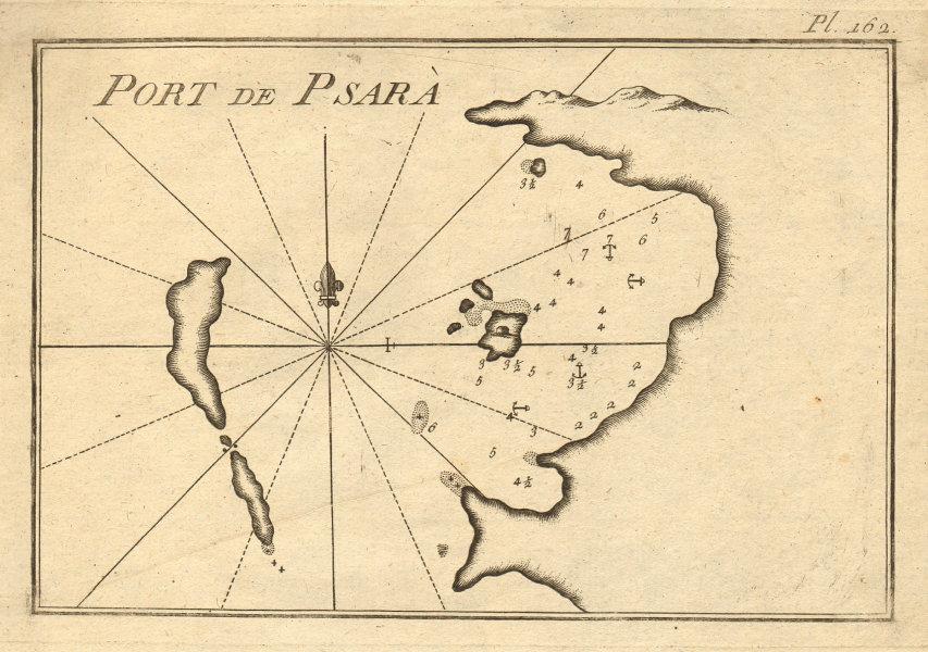 Port de Psara. Psara harbour & Antipsara, North Aegean. Greece. ROUX 1804 map