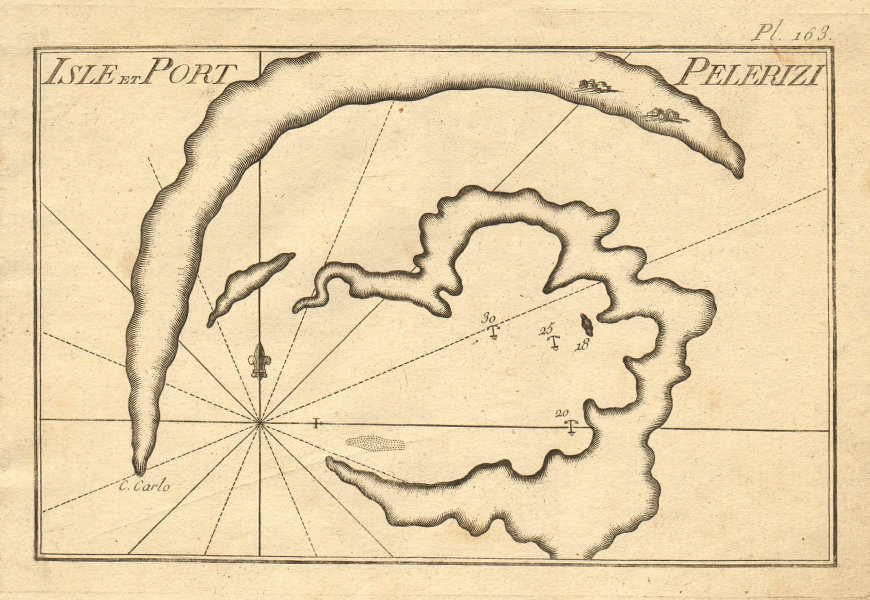 Isle et port Pelerizi. Mediterranean, probably Aegean. Greece. ROUX 1804 map
