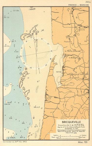 Bricqueville-sur-Mer sea coast chart. D-Day planning map. Manche. ADMIRALTY 1943